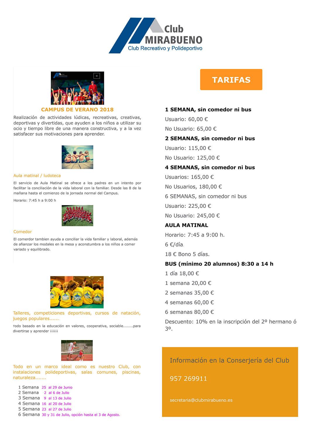 Campus de verano Club Mirabueno